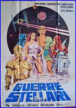 STAR WARS Italian 2F movie poster 39x55 GEORGE LUCAS 1977 PAPUZZA Art VERY RARE