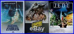 STAR WARS Lot 3 Affiches Cinema Pliées 53x40 Movie Poster Retirages 1990