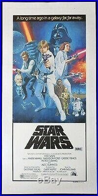 STAR WARS Original LINEN BACKED Australian Daybill Movie Poster Tom Chantrell