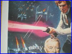 STAR WARS Original UK Quad Poster SIGNED by Peter Cushing Linen Backed Restored
