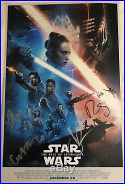 STAR WARS Rise of Skywalker Movie Poster CAST 5x SIGNED Premiere