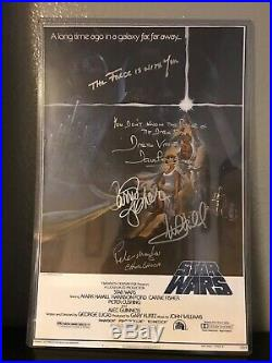 STAR WARS SIGNED CAST SIGNATURES A NEW HOPE 1977 11X17 MOVIE POSTER WithPSA DNA
