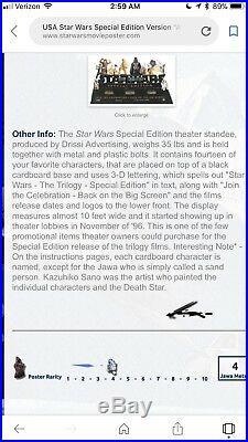 STAR WARS SPECIAL EDITION TRILOGY MOVIE THEATRE LOBBY DISPLAY (Bin F)