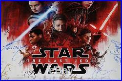 STAR WARS THE LAST JEDI CAST SIGNED WORLD PREMIERE POSTER #36 of 50 +PRESS BADGE