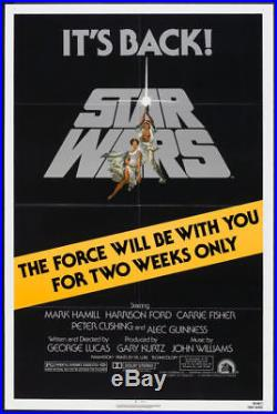 STAR WARS original 1981 one sheet movie poster TWO WEEKS ONLY