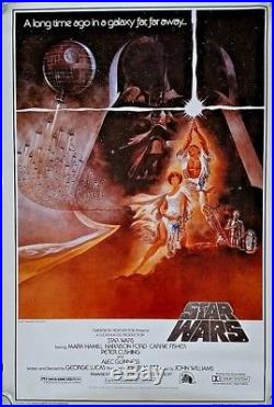 STAR WARS signed 40 X 27 MOVIE POSTER Harrison Ford, Carrie Fisher, Mark Hamill