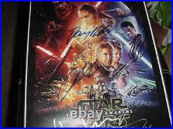 STAR WARS signed auto MOVIE poster FRAMED by 7 MARK HAMILLHARRISON FORDFISHER