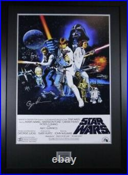 Signed George Lucas Star Wars Movie Poster In Large Professional Frame