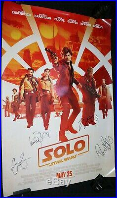 Solo Star Wars Signed Poster (Beckett) Alden, Woody, Donald Glover Emilia Clarke