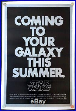 Star Wars 1977 Original Movie Poster Second Advance Linen Backed (27x41) C8 EX