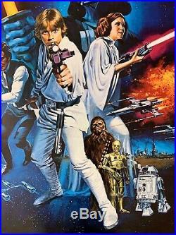 Star Wars 1977 Original Movie Poster Style C Linen Backed C9 Near Mint