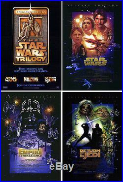 Star Wars (1977) Original Set Of 4 Movie Posters Re-release 1997 Rolled 2-sided