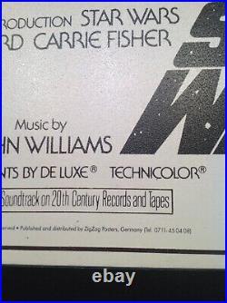Star Wars 1977 copy Movie Poster 1993 Print Framed 27.5 X 42 Inches Hardboard
