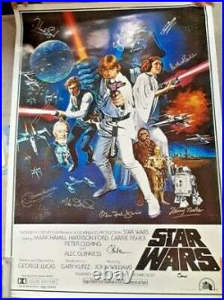 Star Wars A New Hope Limited Edition 11 Cast Signed Original Poster With COA
