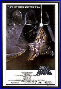 Star Wars A New Hope Movie Poster in Premium Black Wood Frame 24x36