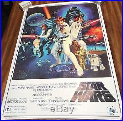 Star Wars Autographed Movie Poster X5, Hamill, Fisher, Daniels, Authenticated