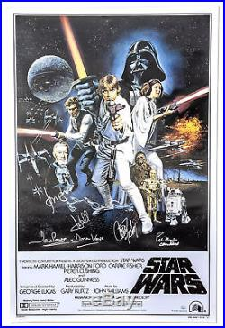 Star Wars Cast Signed Movie Poster Carrie Fisher Ford HamillCeleb Authentics COA