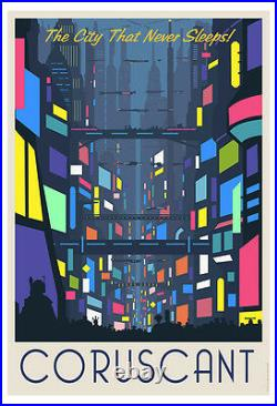 Star Wars Clone Wars Coruscant Clubs Nightlife Travel Poster Art Giclée on Paper
