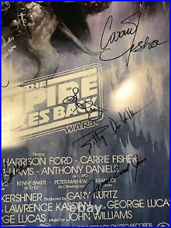 Star Wars Empire Strikes Back Cast Signed 27x40 Poster COA (17 Signatures) WOW