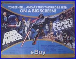 Star Wars / Empire Strikes Back. Double Bill UK Quad Cinema Film Poster