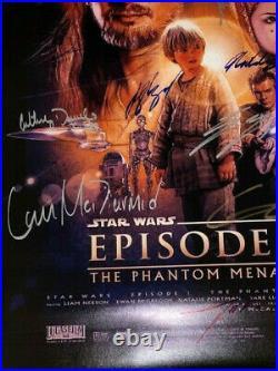 Star Wars Episode 1 The Phantom Menace Movie Poster CAST SIGNED Premiere RARE