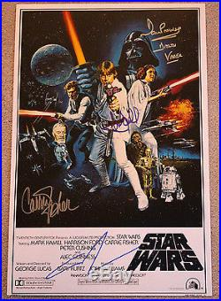 Star Wars Episode IV A New Hope Cast Signed Movie Poster Coa X4 Carrie Fisher+