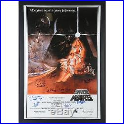 Star Wars Episode IV New Hope Framed Signed 30 x 42 Movie Poster with10 Sigs BAS