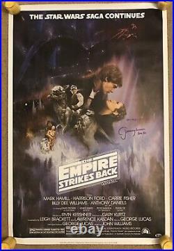 Star Wars JEREMY BULLOCH Signed Empire Strikes Back Poster BOBA FETT Beckett COA