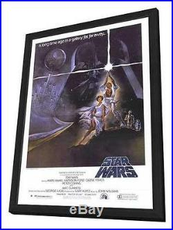 Star Wars Movie POSTER 27 X 40 In Deluxe Wood Frame Mark Hamil, Harrison Ford, A