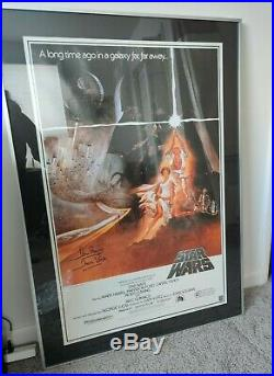 Star Wars Poster CARRIE FISHER DAVID PROWSE autograph A New Hope 1993 Reprint