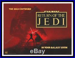 Star Wars RETURN OF THE JEDI 1982 BRITISH QUAD MOVIE POSTER REVENGE ART