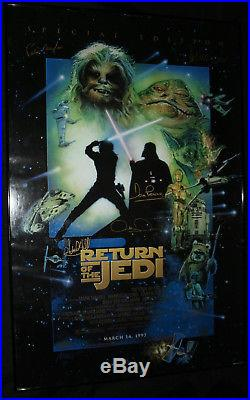 Star Wars ROTJ Poster SIGNED by Carrie Fisher, Baker, Hamil, Daniels, Prowse, +2