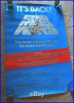Star Wars Re-release 1979 Rare Rolled Original 27x41 Its Back Movie Poster