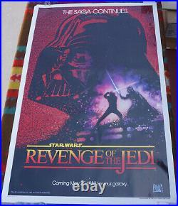 Star Wars Revenge of the Jedi One Sheet Original Movie Poster 1982 41x27 Flat