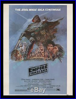 Star Wars THE EMPIRE STRIKES BACK 1980 C-9 ROLLED 30x40 MOVIE POSTER DISPLAY
