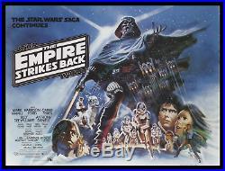 Star Wars THE EMPIRE STRIKES BACK'80 MINT ORIGINAL BRITISH QUAD Museum Quality