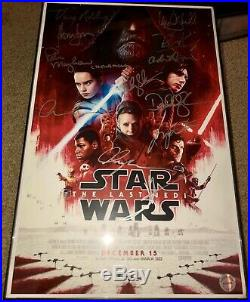 Star Wars THE LAST JEDI Signed Movie Poster Autograph 12 Cast, Fisher, Ford