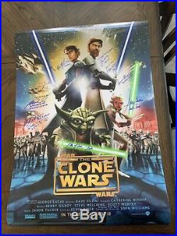 Star Wars The Clone Wars Autographed Double Sided Movie Poster 10 autographs