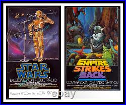 Star Wars The Empire Strikes Back Npr Movie Poster Duo Anthony Daniels Signed