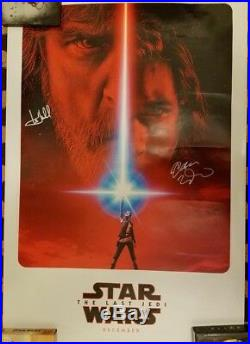 Star Wars The Last Jedi Autographed Movie Poster Signed Mark Hamill Adam Driver