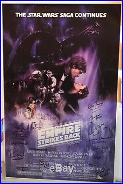 Star Wars cast signed movie poster esb carrie fisher mark hamill kenny baker