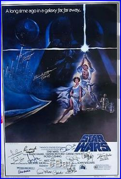 Star Wars cast signed movie poster harrison ford carrie fisher mark hamill