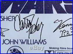Star Wars cast signed movie poster harrison ford carrie fisher mark hamill bas