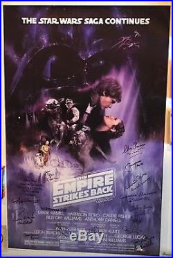 Star Wars signed movie poster esb cast carrie fisher mark hamill kenny baker