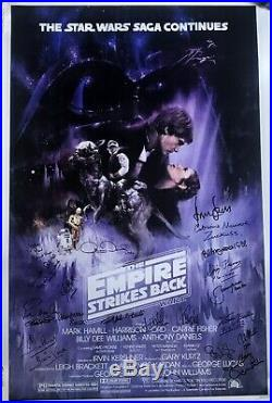 Star Wars signed movie poster esb cast harrison ford carrie fisher mark hamill +