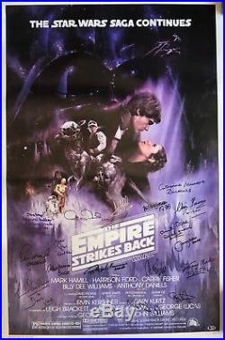 Star Wars signed poster esb cast carrie fisher mark hamill g. Lucas k baker psa