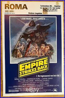 THE EMPIRE STRIKES BACK ORIGINAL 1980 BELGIUM FILM POSTER vintage star wars