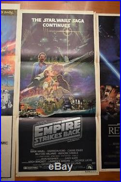 Vintage Australian Daybill Poster Lot X3 Star Wars, Empire Strikes Back, Rotj