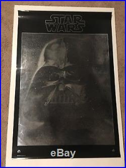 Vintage Star Wars Vader Mylar Movie Poster Original Near Mint Rolled 1977